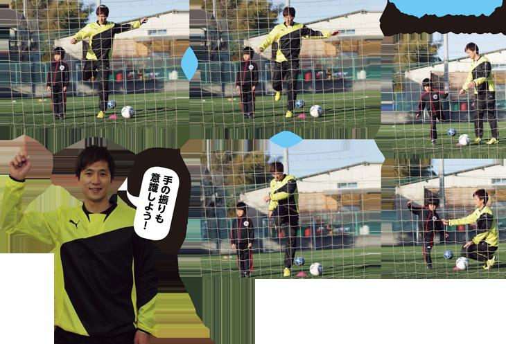 ボールを蹴るイメージで素振りしよう。