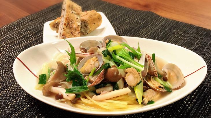 キノコと魚介の中華風スープスパ