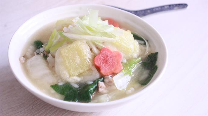冬野菜たっぷり 揚げ餅入り中華風ぞうすい