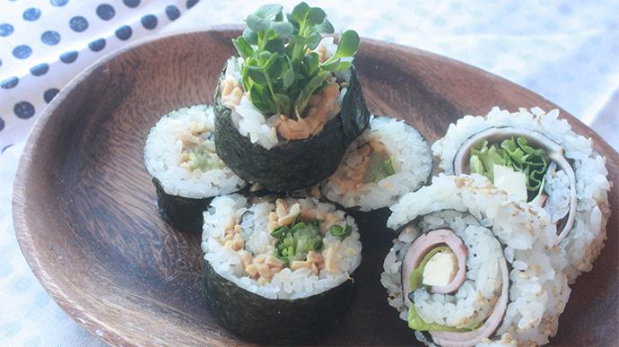 お手軽 納豆&ツナのロール寿司