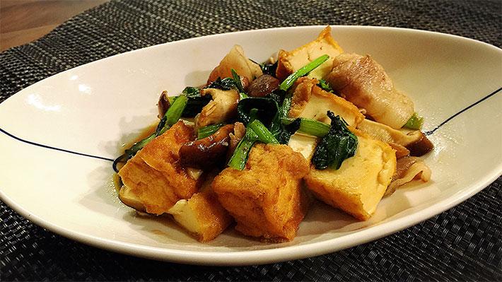 免疫アップ!小松菜と厚揚げのハチミツ甘辛炒め