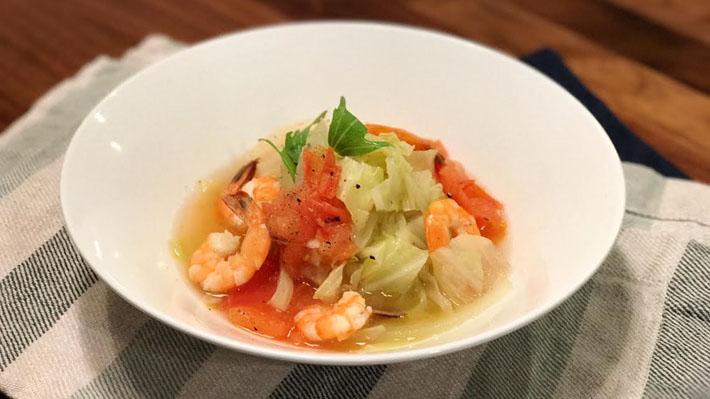 風邪から守る★プリプリ海老のあっさりキャベツスープ