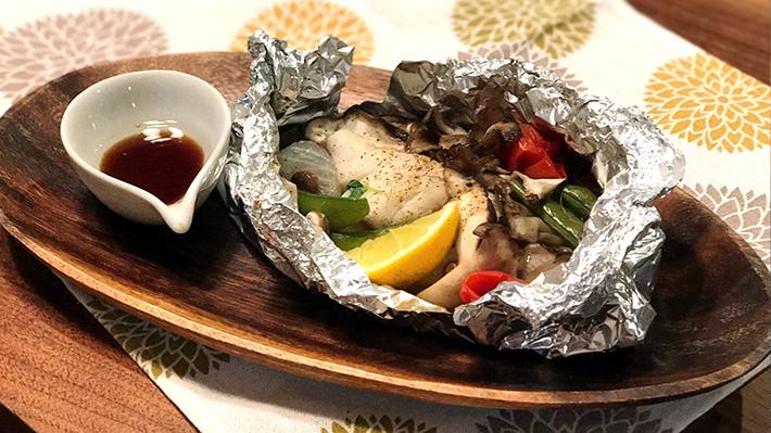 鱈とキノコのホイル焼き★えごまポン酢かけ
