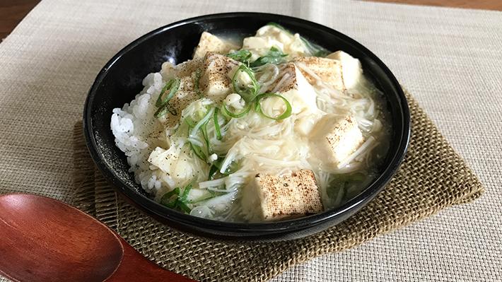 ササッと作れてササッと食べれる★帆立貝柱とお豆腐の簡単中華丼