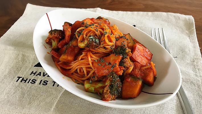 エネルギー補給に★ベーコンとカボチャのトマトパスタ