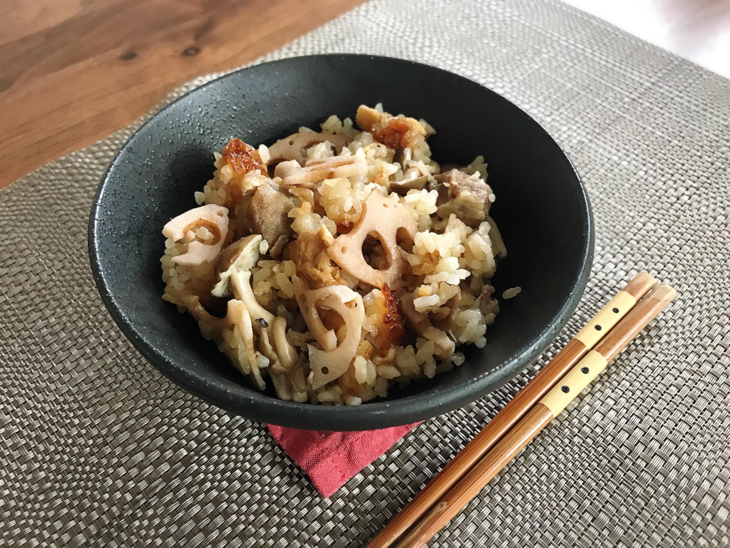 レンコンの鶏炊き込みご飯